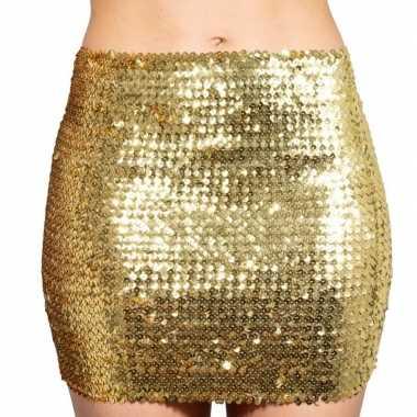 Gouden glitter pailletten disco rokje dames carnavalskleding valkensw