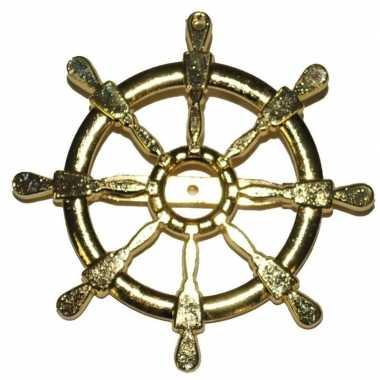 Gouden matroos/zeeman verkleed broche scheepsroer carnavalskleding va