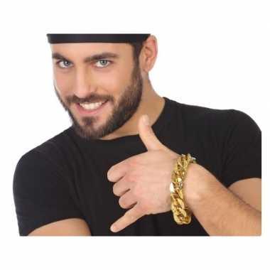 Gouden schakelarmband hiphop / rapper verkleed accessoire carnavalskl