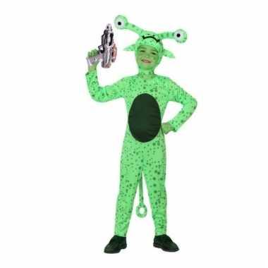 Groen alien carnavalskleding inclusief space gun kids