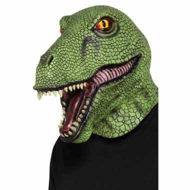 Groen dinosaurus masker volwassenen carnavalskleding valkenswaard