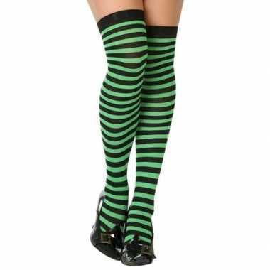Groen/zwarte gestreepte verkleed kousen dames carnavalskleding valken