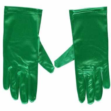 Groene gala handschoenen kort satijn carnavalskleding valkenswaard