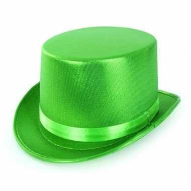 Groene hoge hoed metallic volwassenen carnavalskleding valkenswaard