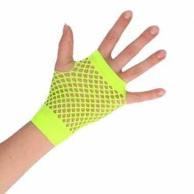 Groene korte visnet handschoenen volwassenen carnavalskleding valkens