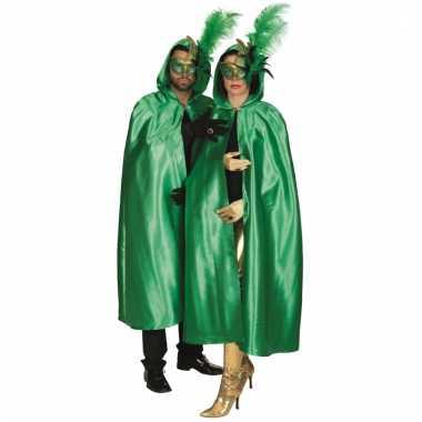 Groene venetiaanse cape volwassenen carnavalskleding valkenswaard