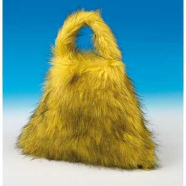 Grote gele tas nep bont carnavalskleding Valkenswaard
