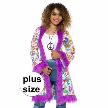 Grote maat hippie groovy jas dames carnavalskleding valkenswaard