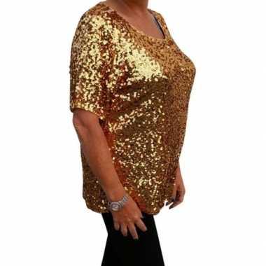 Grote maten gouden glitter pailletten disco shirt dames xl carnavalsk