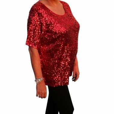 Grote maten rode glitter pailletten disco shirt dames xl carnavalskle