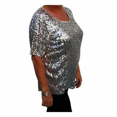 Grote maten zilveren glitter pailletten disco shirt dames xl carnaval