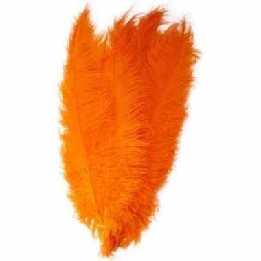 Grote veer/struisvogelveer oranje verkleed accessoire carnavalskledin