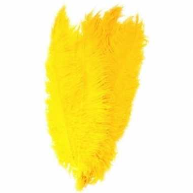 Grote veer/struisvogelveren geel verkleed accessoire carnavalskleding