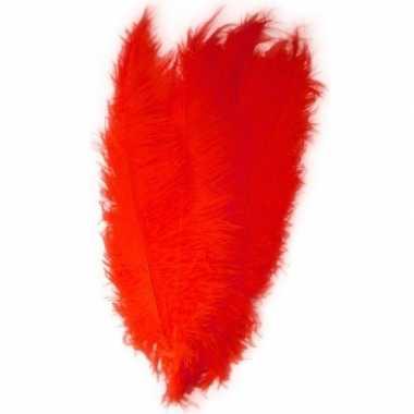 Grote veer/struisvogelveren rood verkleed accessoire carnavalskleding