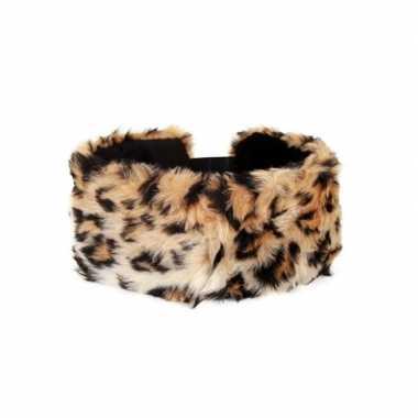 Haarband pluche panter dieren print dames carnavalskleding valkenswaa