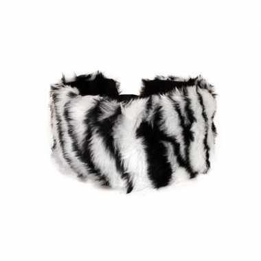 Haarband pluche zebra dieren print dames carnavalskleding valkenswaar