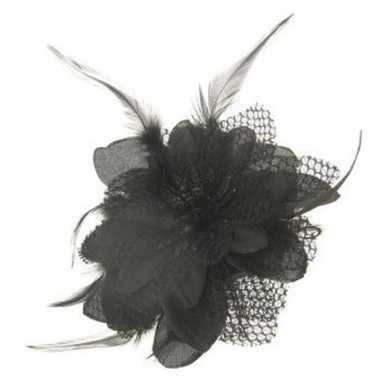 Haarbloem zwart veertjes carnavalskleding valkenswaard