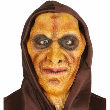 Hagedis man horror masker latex capuchon carnavalskleding valkenswaar