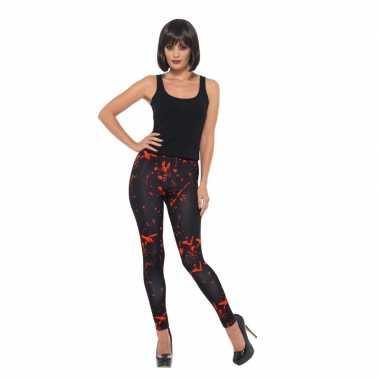 Halloween accessoires bloederige legging zwart carnavalskleding valke