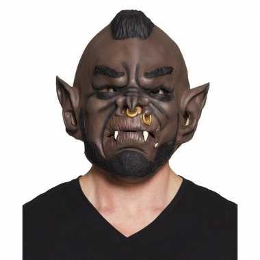 Halloween bruin ork/goblin halloween masker latex carnavalskleding va
