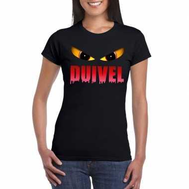 Halloween duivel ogen t shirt zwart dames carnavalskleding valkenswaa