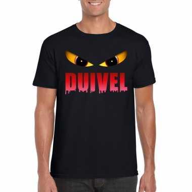 Halloween duivel ogen t shirt zwart heren carnavalskleding valkenswaa