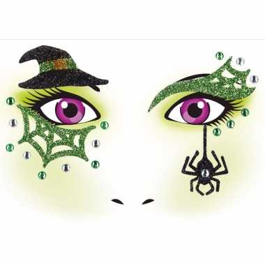 Halloween gezicht stickers heks vel carnavalskleding valkenswaard