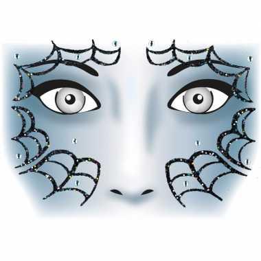 Halloween gezicht stickers spinnenweb vel carnavalskleding valkenswaa