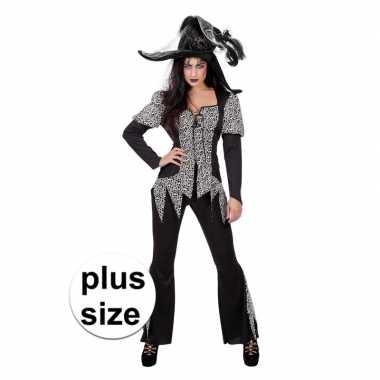 Halloween grote maat zwart/wit heksen carnavalskleding dames valkensw