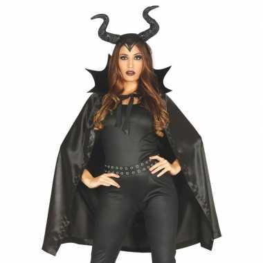 Halloween heks hoorns halloween carnavalskleding cape dames valkenswa