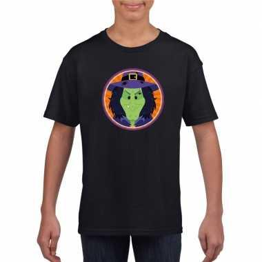 Halloween heks t shirt zwart kinderen carnavalskleding valkenswaard