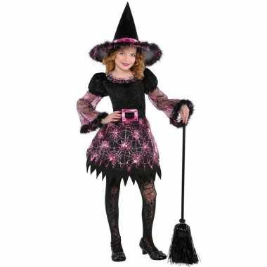 Halloween heksen carnavalskleding spinnenweb meisjes valkenswaard