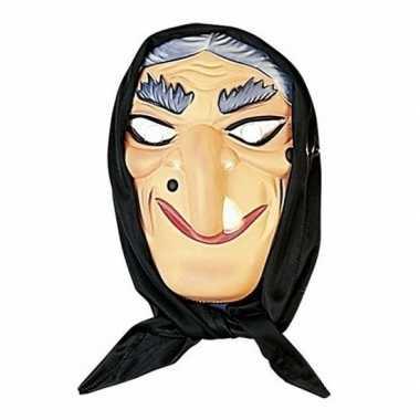 Halloween heksen masker grijs haar hoofddoek carnavalskleding valkens