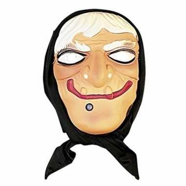 Halloween heksen masker wit haar hoofddoek carnavalskleding valkenswa
