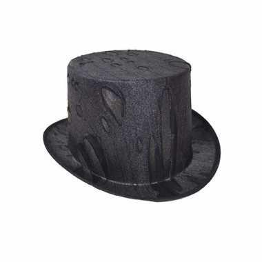 Halloween horror zwarte hoge hoed volwassenen carnavalskleding valken