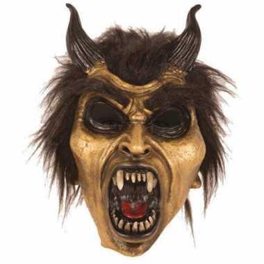 Halloween latex horror masker duivel goud carnavalskleding valkenswaa