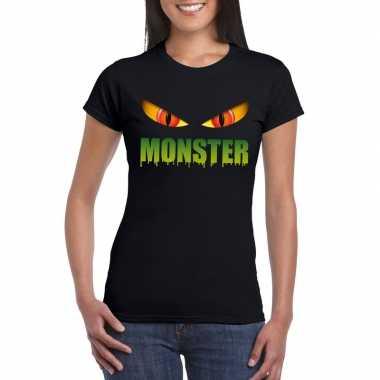 Halloween monster ogen t shirt zwart dames carnavalskleding valkenswa