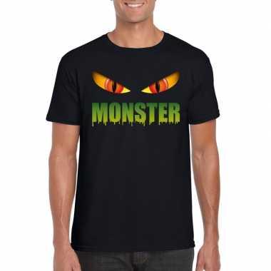 Halloween monster ogen t shirt zwart heren carnavalskleding valkenswa