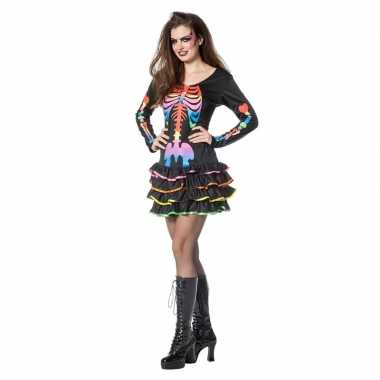 Halloween neon skelet halloween jurkje dames carnavalskleding valkens