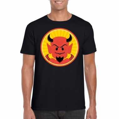Halloween rode duivel t shirt zwart heren carnavalskleding valkenswaa