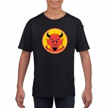 Halloween rode duivel t shirt zwart kinderen carnavalskleding valkens