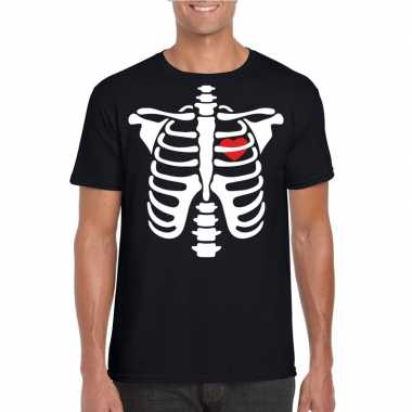 Halloween skelet t shirt zwart heren carnavalskleding valkenswaard