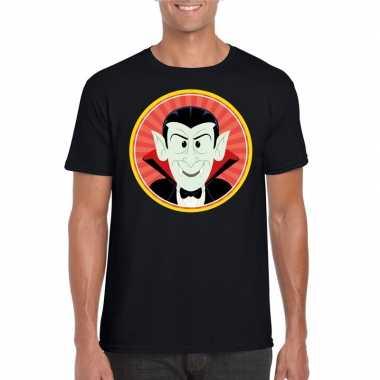 Halloween vampier/dracula t shirt zwart heren carnavalskleding valken