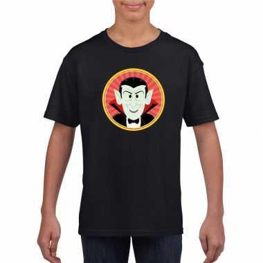 Halloween vampier/dracula t shirt zwart kinderen carnavalskleding val