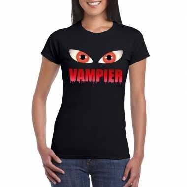 Halloween vampier ogen t shirt zwart dames carnavalskleding valkenswa