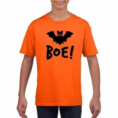 Halloween vleermuis t shirt oranje kinderen carnavalskleding valkensw