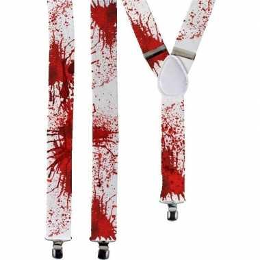 Halloween witte bretels bloedvlekken volwassenen carnavalskleding val