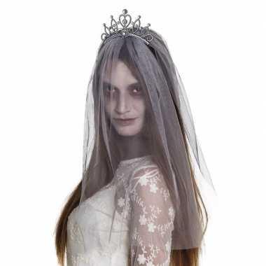 Halloween zilveren kroontje grijze sluier volwassenen carnavalskledin