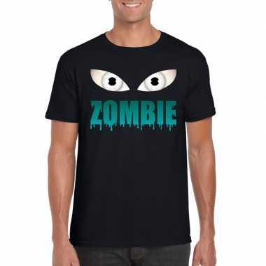 Halloween zombie ogen t shirt zwart heren carnavalskleding valkenswaa