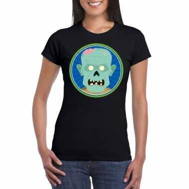 Halloween zombie t shirt zwart dames carnavalskleding valkenswaard